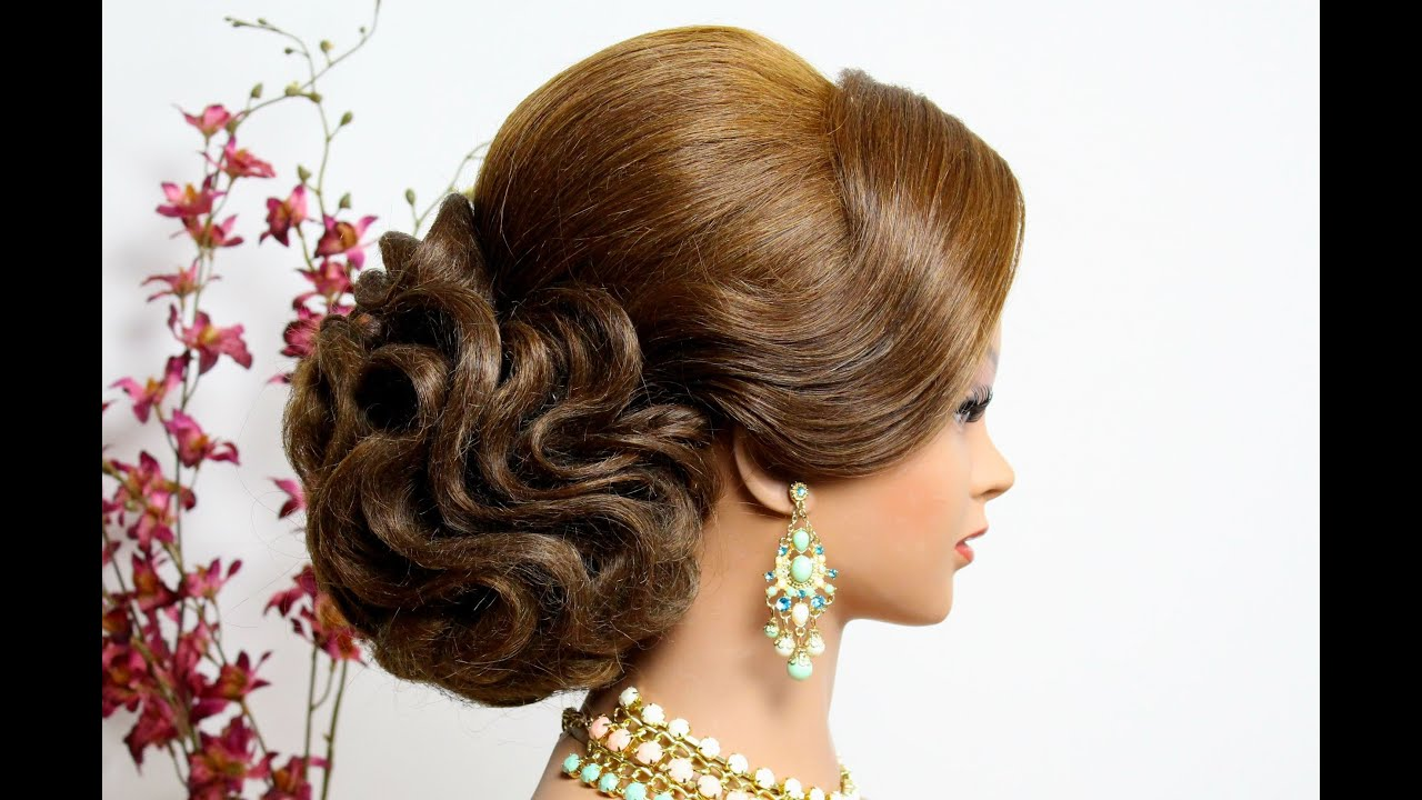 Bridal  wedding  updo  Hairstyle  for long hair  tutorial