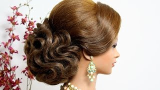 Bridal wedding updo.  Hairstyle for long hair