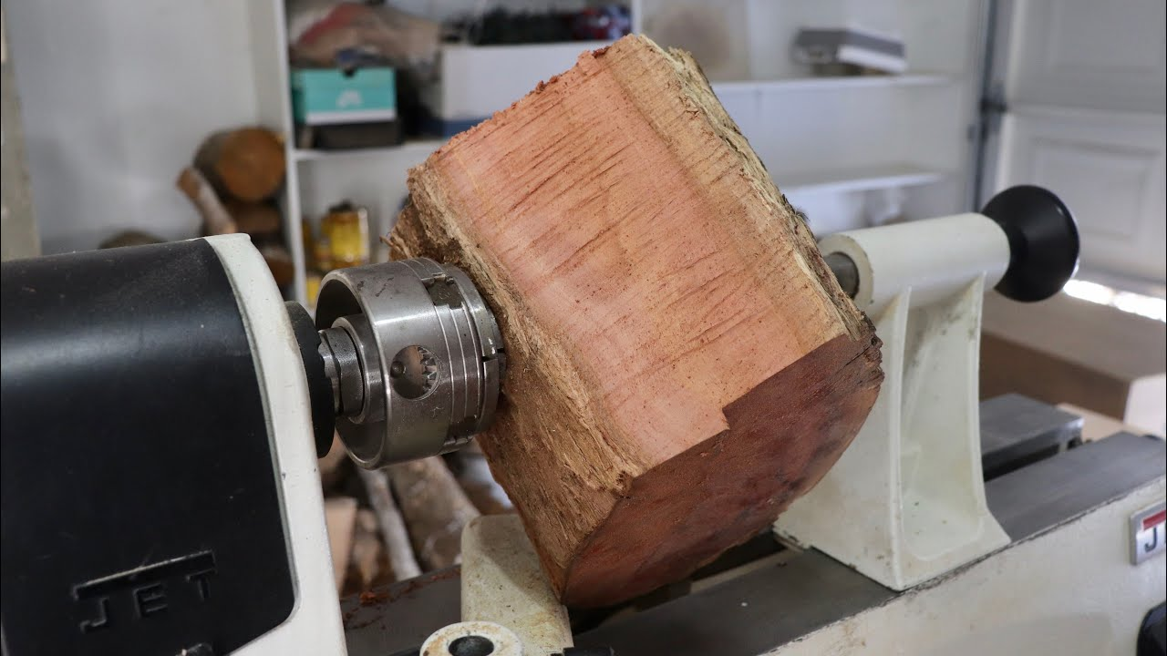 Wood Turning a Red Log into a Bowl