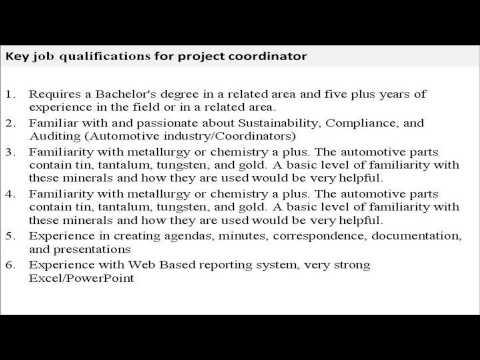 Project coordinator job description YouTube – Project Coordinator Job Description