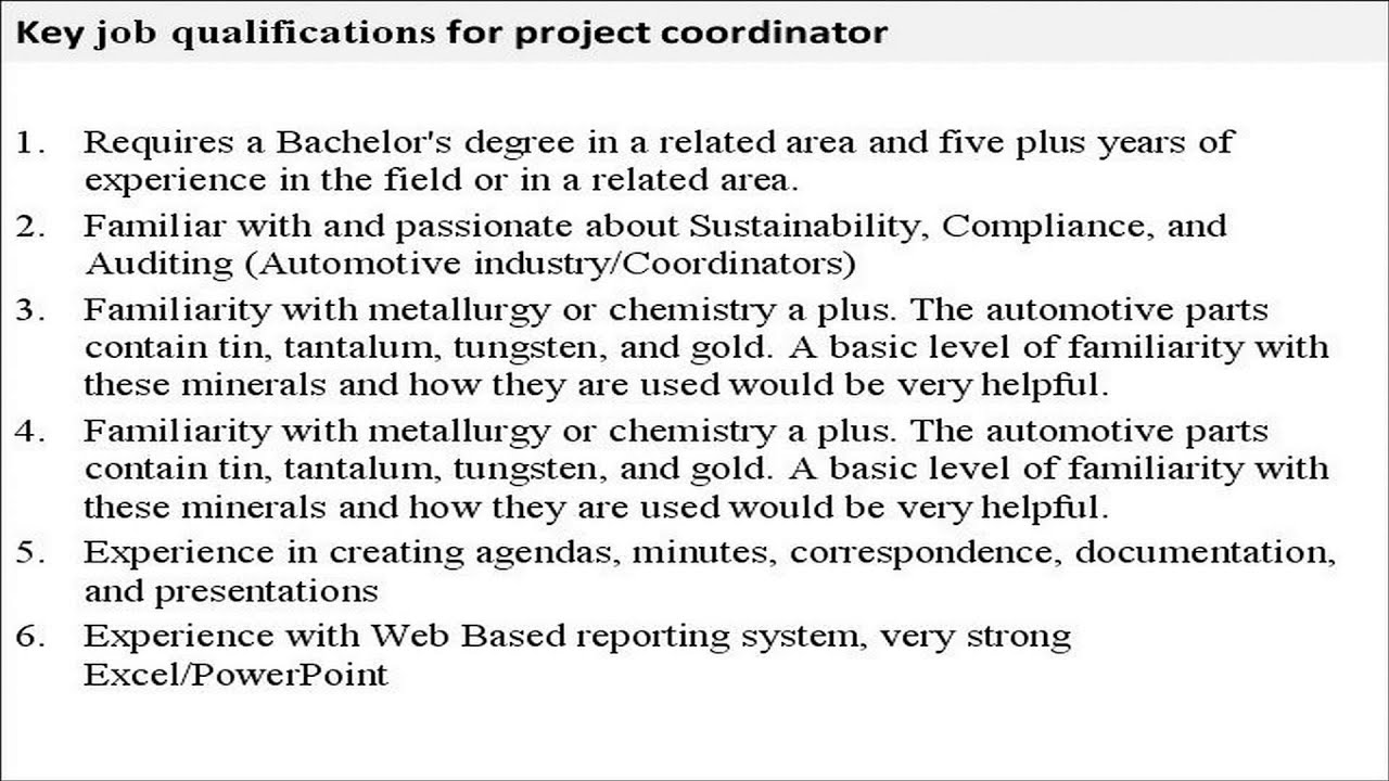 Project coordinator job description YouTube – Coordinator Job Description