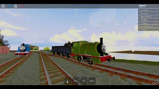 roblox thomas cool beans railway percy get to pull trucks