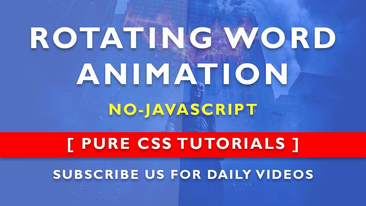 Changing Word Animation - Pure Css Word Rotator - No Javascript