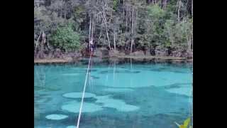 Waterline na Lagoa Azul em Primavera do Leste-MT com Slackline Cuiabá-MT