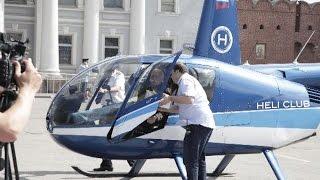Якубович в Туле раздавал мороженное с вертолета