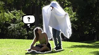 Booing! In Peoples Ears In A Ghost Costume Ft Steezy Kane