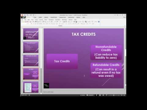 Tax Year 2016 - US Personal Income Tax - Intermediate Series - Lesson 1 Credit Basics