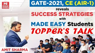 Preparation Strategy | GATE 2021 Topper | Amit Sharma | AIR-1 | Civil Engineering| MADE EASY Student