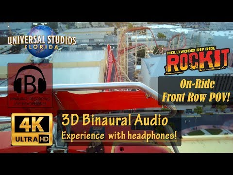 [4K, 3D Audio] NEW Hollywood Rip Ride Rockit 4K On-Ride Front Row POV - Universal Orlando