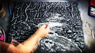 Toilet Paper Painting (2006)- Forest River Scene - Glen Shackley