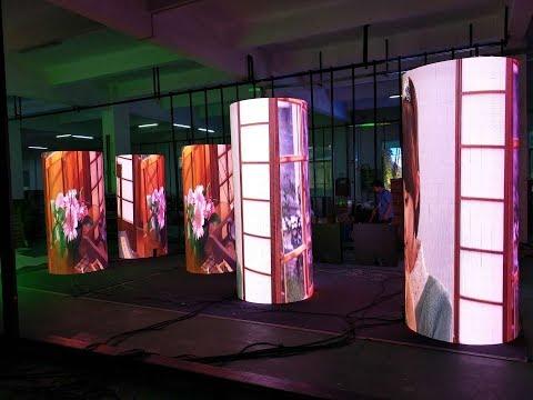 Circular booth / cylinder / arc shaped / circle / column led screen / display / signs / billboard