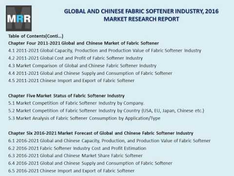 New Fabric Softener Market Project Feasibility and Chinese Financial Revenue Analysis in 2016 Report