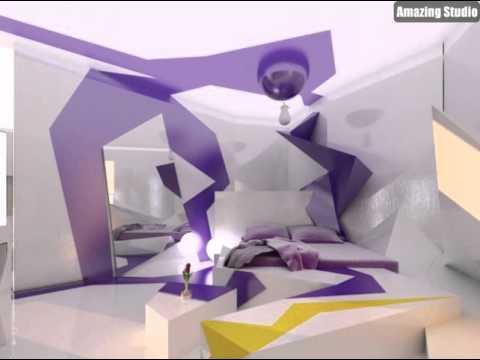 Lila Weiß Schlafzimmer Dekor