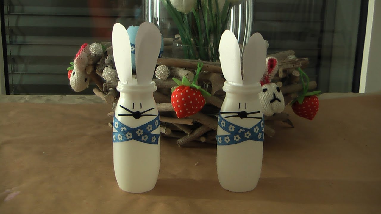 osterhase hase aus actimel verpackung basteln ostern diy. Black Bedroom Furniture Sets. Home Design Ideas