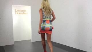 Orange & Blue Jewel Print Scuba Stretch Bodycon Mini Dress