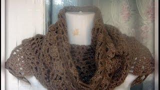Как связать снуд крючком?Часть 1 .Knit infinite scarf crochet pattern PINEAPPLE