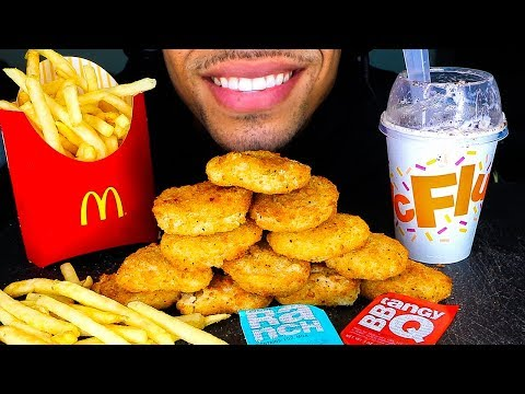 ASMR MCDONALD'S CHICKEN NUGGETS CHALLENGE OREO MCFLURRY FRIES MUKBANG NO TALKING JERRY EATING SOUNDS