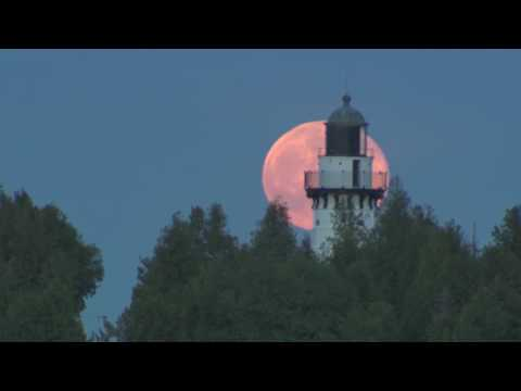 Door County Cana Island Lighthouse Moonrise