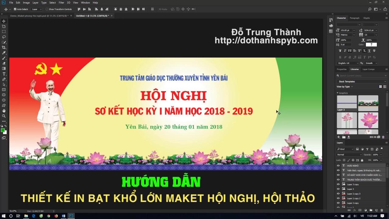 Hướng dẫn Thiết kế in bạt khổ lớn Maket Hội nghị Hội thảo với Adobe Photoshop CC 2018
