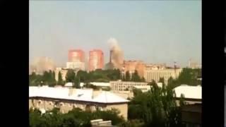 7 августа Донецк Попадание снаряда в высотку на улице Панфилова