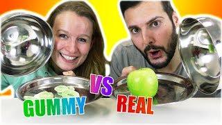 REAL FOOD vs GUMMY FOOD! Kathi vs Kaan - Echtes Essen & Süßigkeiten Challenge