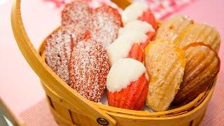 Madeleines (classic Vanilla, White Chocolate Strawberry, & Red Velvet)