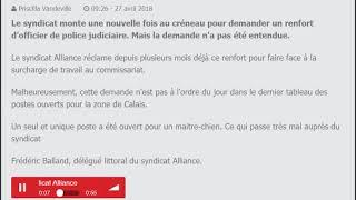 RADIO 6 : LE SYNDICAT DE POLICE ALLIANCE RÉCLAME UN RENFORT D'OFFICIER DE POLICE JUDICIAIRE À CALAIS