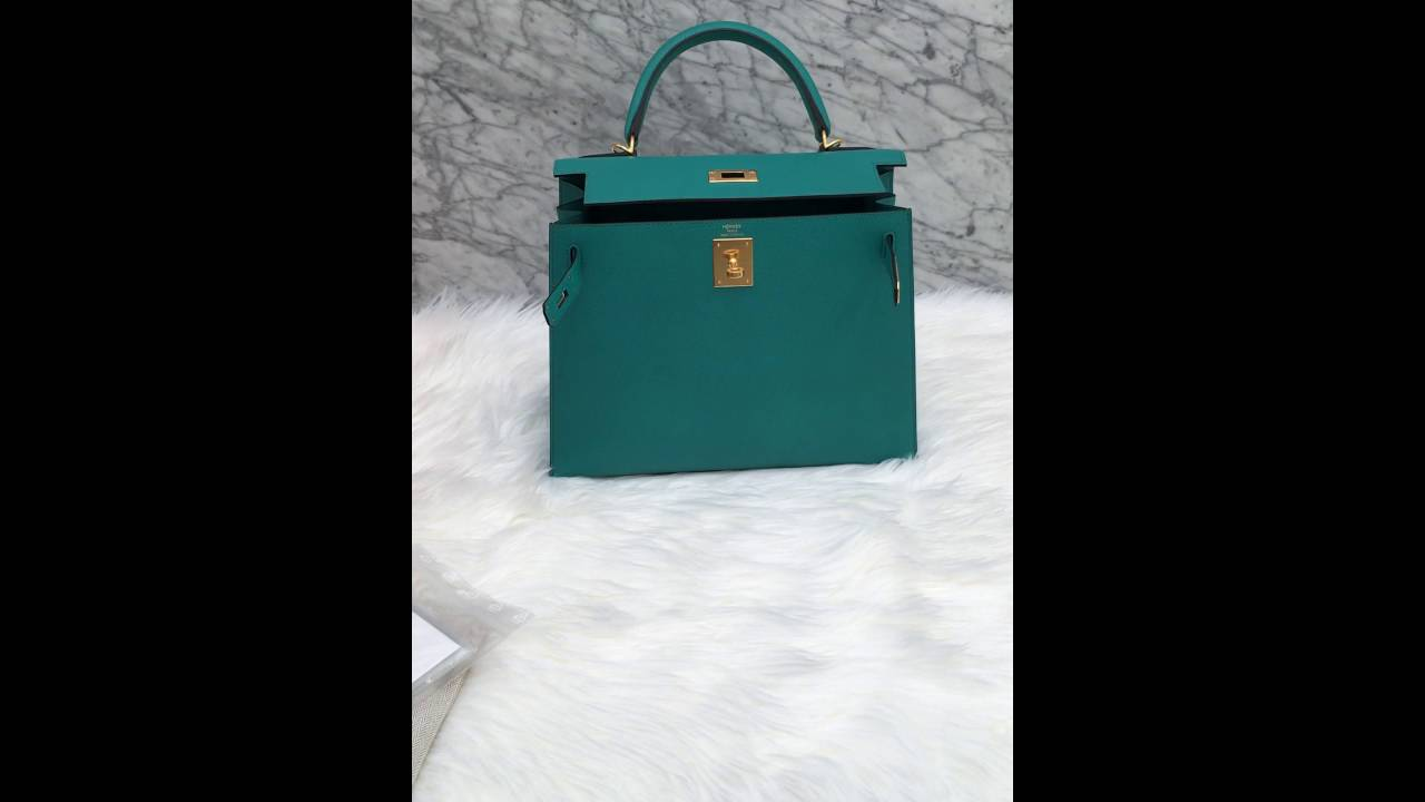 b098a1d221 Hermes Luxury World Kelly 28cm Blue Paon Epsom GHW - YouTube