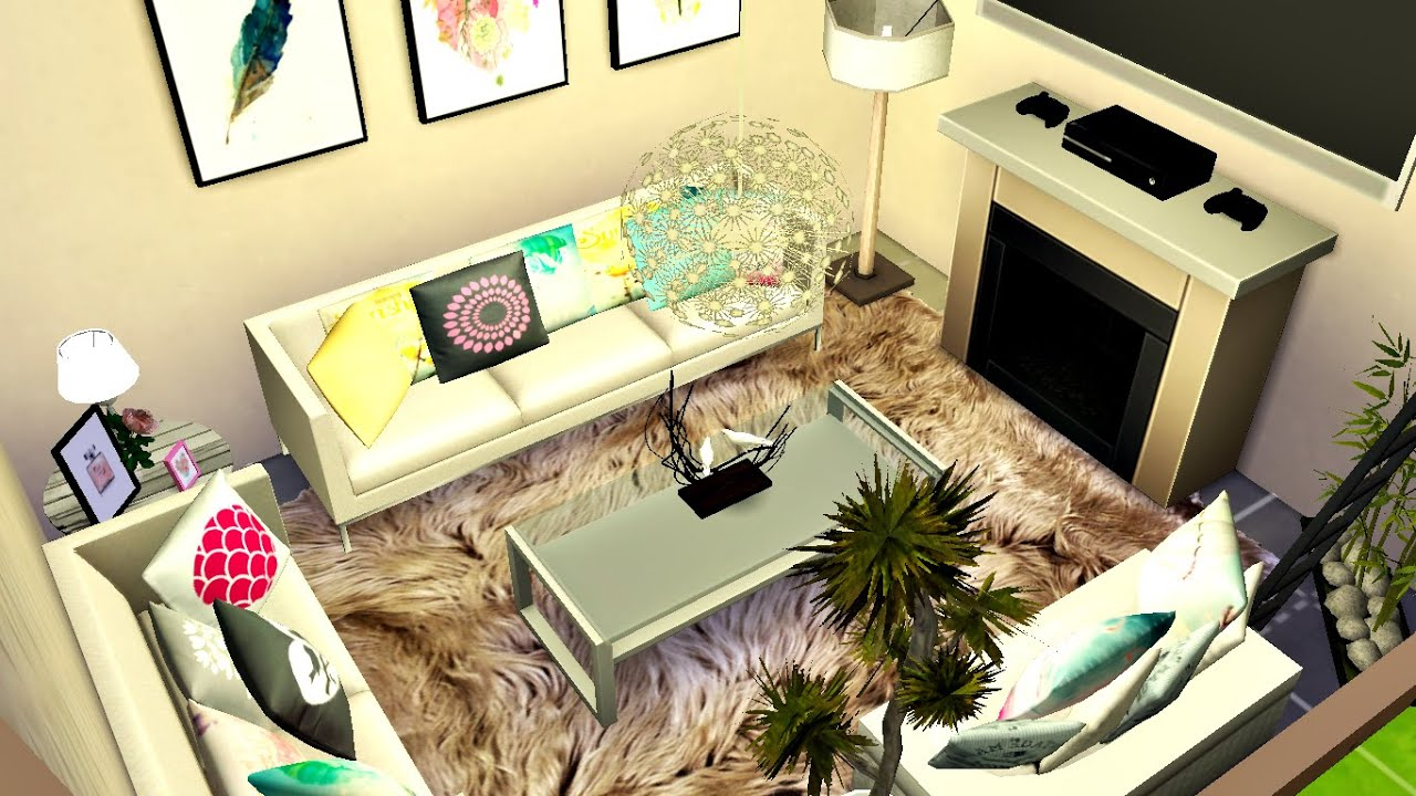 The sims 4 living room small and cozy youtube for Sims 4 living room ideas