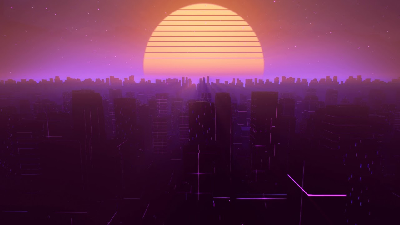 Neon City Outrun Synthwave Animation Loop 3 Creative Commons