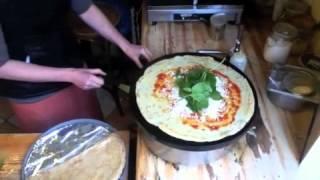 crepe goatcheese , tomato tapanade and spinach @ La Fruteria juicebar