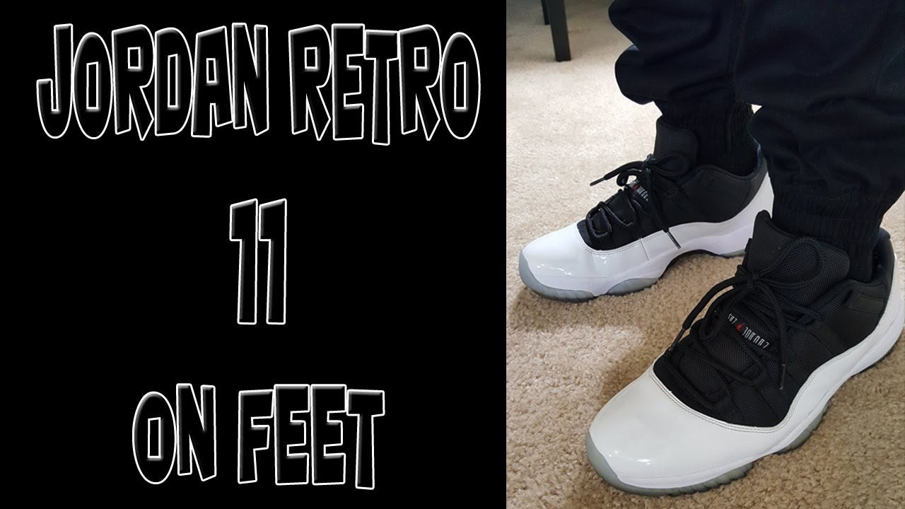 7ac839e6f5e Jordan Retro 11 Low Tuxedo On Feet - YouTube