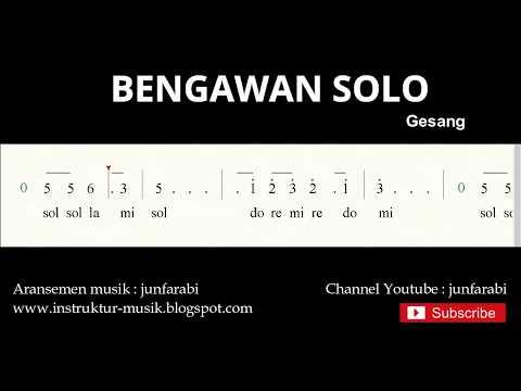 Not Angka Bengawan Solo  - Do = C Mayor - Lagu Wajib Nasional - Doremi Solmisasi