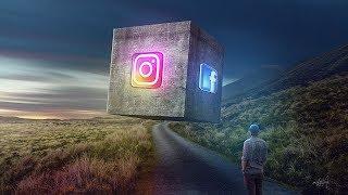 3D Cube Instagram FB Photo Manipulation Effect Photoshop Tutorial