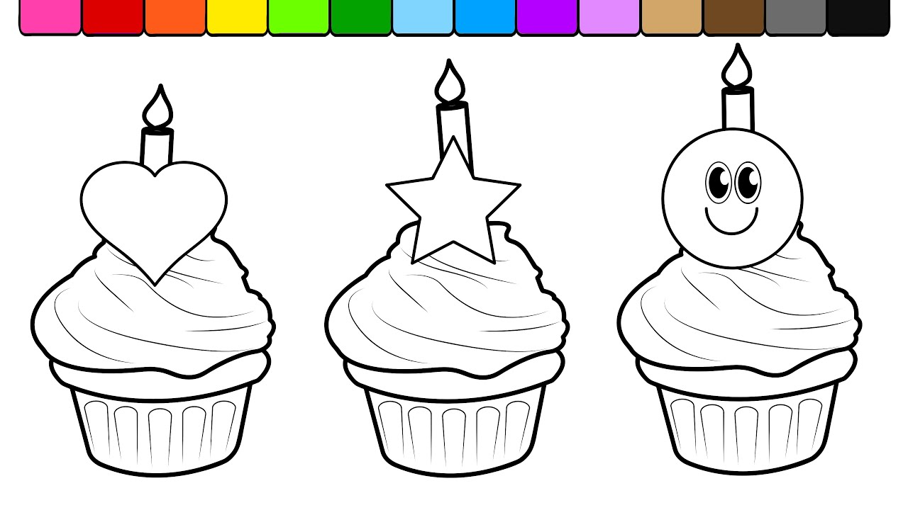 Learn Colors for Kids and Color this Birthday Cup Cake Coloring