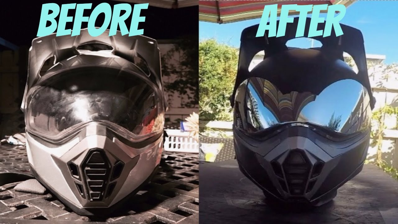 eb1be09c How to paint a helmet with spray paint (painting supermoto helmet) - YouTube