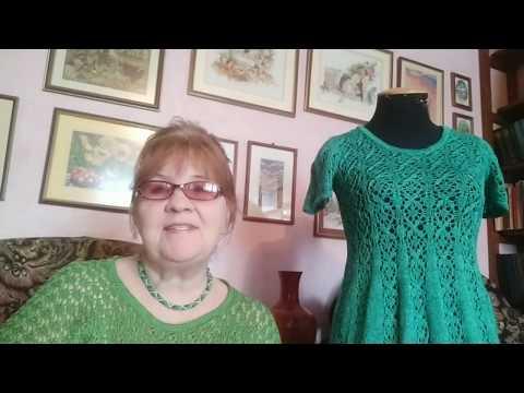 Двухцветное вязаное спицами платье