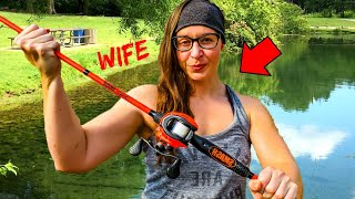 Fishing Challenge w/ STRONG Wife (She Lifts - I Fish!!)