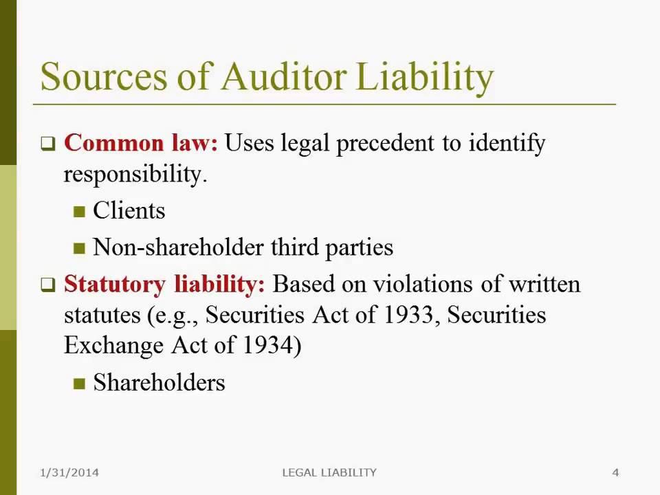 legal liabilities of auditors