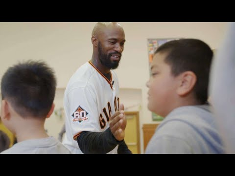 Austin Jackson visits with students