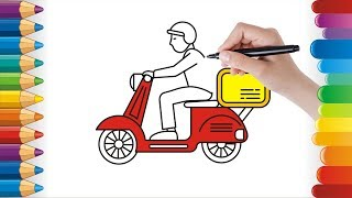 How to Draw Bike │ how to draw postman │ Coloring Pages │ Coloring for Kids
