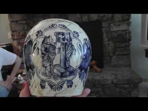 van Rossem's Toeback Anno 1750 Antique Holland Delft Pottery Tobacco Humidor