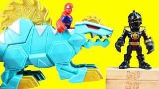 Power Rangers Black Ranger & Dimetrozord Battles Joker | Batman Superhero Family Game Night Jenga