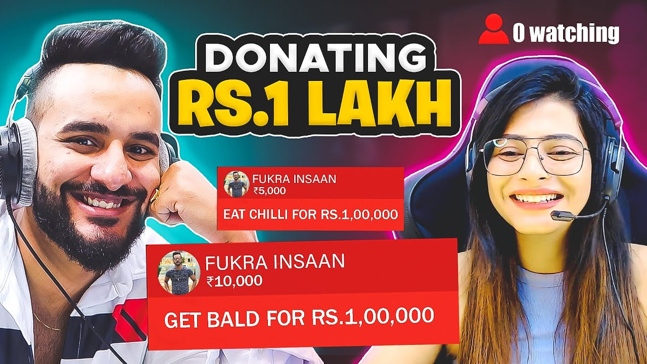 Donating RS 1,00,000 to streamers with 0 WATCHING if they do the DARE !! *Shave head on Stream*