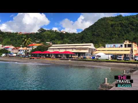 Stunning view of coast of Martinique from pier