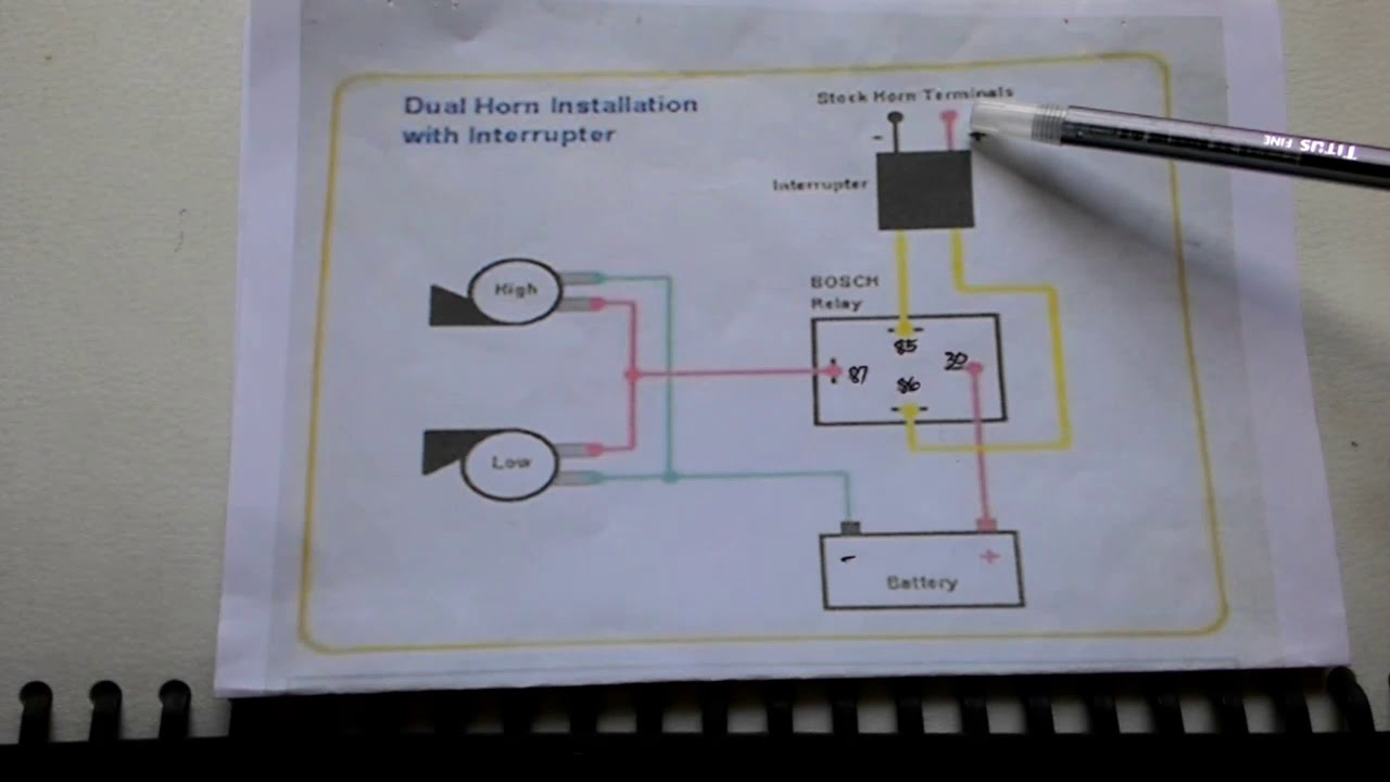 Horn Relay Diagram Youtube