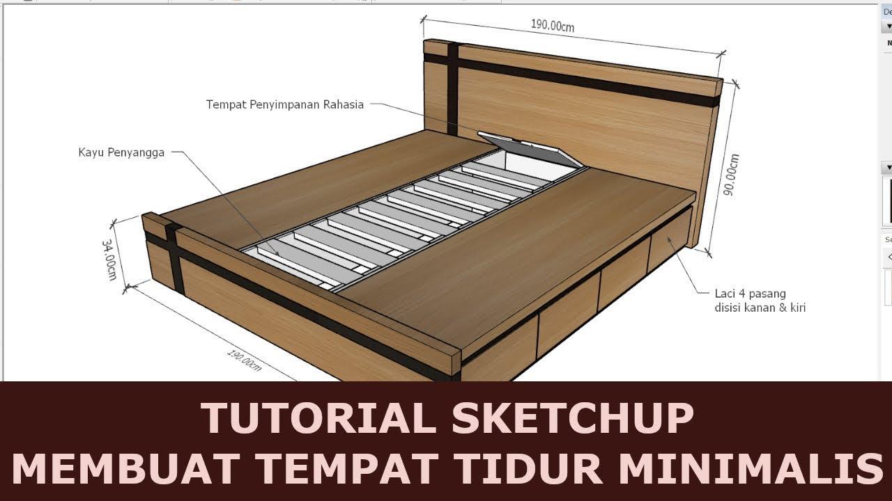 Cara Membuat Tempat Tidur Minimalis Dengan Sketchup Youtube Cara membuat tempat tidur laci