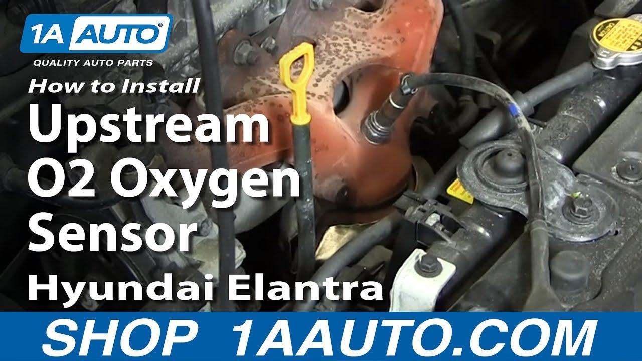 how to install replace upstream o2 oxygen sensor 2004 08 hyundai elantra 2 0l