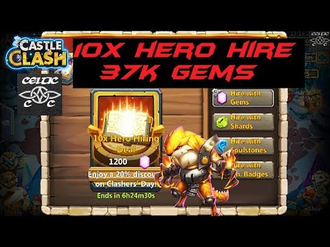 10x Hero Hire, 37k Gems Rolled  Castle Clash