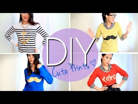 DIY Mustache   Cute Printed Sweaters or T-shirts  Easy  How to Make ... 4b3b616a8